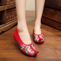 Low top shoes 35,36,37,38,39,40,41 Other / other Red, black Round head cloth Slope heel Low heel (1-3cm) Shallow mouth cloth Spring 2015 ethnic style Adhesive shoes TPR (tendon) Cloth shoes