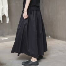 skirt Summer 2017 S,M,L black Mid length dress street Natural waist Pleated skirt Solid color Type A 18-24 years old Q-110 More than 95% Simple BLACK cotton Tuck, fold, tie 121g / m ^ 2 (including) - 140g / m ^ 2 (including) Europe and America