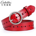 Belt / belt / chain Double skin leather Camel red dark coffee black female belt Simplicity Single loop Youth, middle age Pin buckle Round buckle 2.8cm