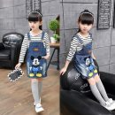 Dress Dark blue, blue female XXE Suitable for 90-100, 100-110, 110-120, 120-130 spring and autumn Korean version Strapless skirt Denim Denim skirt Class B
