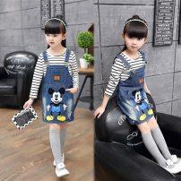 Dress Dark blue, blue female XXE Suitable for 90-100, 100-110, 110-120, 120-130 spring and autumn Korean version Strapless skirt Denim Denim skirt Class B