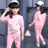 suit Other / other Grey, black, pink 110cm,120cm,130cm,140cm,150cm,160cm female spring and autumn motion Long sleeve + pants 2 pieces routine There are models in the real shooting Socket nothing other other children Expression of love Class B Cotton 10% others 90%
