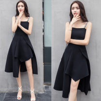 Dress Autumn 2020 black S,M,L,XL singleton  Sleeveless commute One word collar High waist Solid color Socket Irregular skirt other camisole zipper other