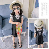 suit Little elk Tang Picture color Size 5 / recommended height 90cm7 / recommended height 100cm9 / recommended height 110cm11 / recommended height 120cm13 / recommended height 130cm female summer leisure time Sleeveless + pants 2 pieces routine There are models in the real shooting Socket nothing Dot