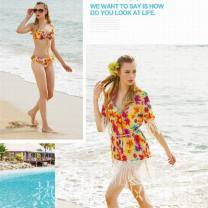 Bikini HDS / huadaisi 95317 yellow bikini M,L,XL Skirt bikini Steel strap breast pad Nylon, spandex