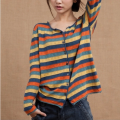 Wool knitwear Spring 2021 One size fits all, l [suitable for 130-150 kg] Striped short sleeves, striped long sleeves, blue and white striped long sleeves Long sleeves singleton  Cardigan cotton More than 95% Regular routine commute easy Low crew neck routine stripe Single breasted Simplicity