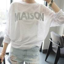 Sweater / sweater Summer 2016 free Long sleeves routine Socket singleton  Thin money Crew neck easy commute Bat sleeve letter 18-24 years old 96% and above Korean version cotton