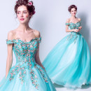 Dress / evening wear Wedding adult party company annual meeting performance S XL XS XXL XXXL M L Aquamarine Korean version longuette middle-waisted Spring 2017 Skirt Princess One shoulder Bandage 18-25 years old two thousand two hundred and eighteen Sleeveless Embroidery Princess tribe