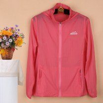 Middle aged and old women's wear Summer 2020 Watermelon red, pink, rose red, white, aqua blue, brilliant plum red, fluorescent violet L,XL,XXL,XXXL,4XL,5XL,6XL motion Jacket / jacket easy singleton  Solid color 40-49 years old Cardigan thin Medium length (length 50-70cm) routine Snow Wolf pocket