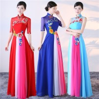 Dress / evening wear Smlxl2xl3xl4xl custom size does not return Red blue light green Wedding adult party company annual performance daily appointment Summer 2017 Standing collar Fall to the ground Long skirt zipper Middle waist elegant Seven sleeves Pure color conventional Flowers Soft lips