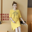 Home top A litter of bears Dark grey, pink, yellow M,L,XL,XXL Short sleeve Crew neck Thin money Simplicity summer Solid color cotton pure cotton Socket Pu Ruyi summer clothes breast feeding coat postpartum summer clothes