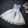 Dress / evening wear Wedding, adulthood, party, company annual meeting, show, date white Sweet Short skirt middle-waisted Summer of 2018 Fluffy skirt Chest type Bandage Netting Sleeveless Embroidery Honey machine embroidery