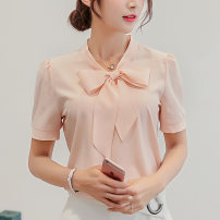 shirt White pink SMLXLXXL Spring of 2018 Short sleeve commute Regular other Socket routine Solid color 25-29 years old Self cultivation Caidaifei Korean version 210RX Polyester 93% polyurethane elastic fiber (spandex) 7%