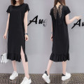 Women's large Summer 2017 black Large XL, large XXL, large XXL, large XXXXL, large L, M T-shirt easy moderate Socket Short sleeve Medium length cotton Three dimensional cutting Other / other 18-24 years old Lace stitching 91% (inclusive) - 95% (inclusive) Medium length