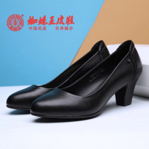 Low top shoes Spider king Black 26q10b70162 Round head Thick heel top layer leather Shallow mouth High heel (5-8cm) Two layer pigskin Spring of 2018 PU