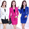 Professional dress suit S,M,L,XL,XXL,XXXL Rose red top + skirt two-piece set, blue top + skirt two-piece set, black top + skirt two-piece set, white top + skirt two-piece set Spring of 2019 Long sleeves YB172323 loose coat A-line skirt 25-35 years old