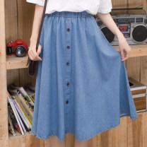 skirt Summer 2017 S,M,L,XL,2XL,3XL Light blue, dark blue Sweet High waist A-line skirt Solid color Type A Denim Ruffles, old