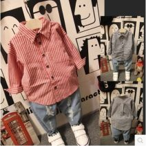 shirt Black bar, red bar Other / other male 100cm(7),110cm(9),120cm(11),130cm(13),140cm(15) spring and autumn Long sleeves Korean version stripe other