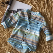 shirt Other / other neutral spring and autumn Long sleeves leisure time stripe Pure cotton (100% cotton content) stand collar Cotton 100% other