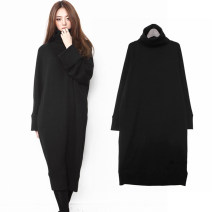 Dress Autumn 2015 Black cotton S,M,L,XL singleton  Long sleeves commute High collar Loose waist Solid color Socket One pace skirt routine Others 25-29 years old Type H Korean version thread new pattern 31% (inclusive) - 50% (inclusive) other nylon