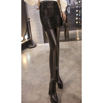Leggings Spring 2017 Black Lace Skirt PU leather without velvet, black lace skirt Pu thin velvet, black lace skirt Pu thick velvet, black lace skirt matte imitation leather thin, black lace skirt matte imitation leather with velvet thickening One size fits all, XL 130-160kg, XXL 160-200kg routine