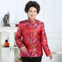 Middle aged and old women's wear Spring 2014, autumn 2014 Red, brown, sky blue, purplish red, sky blue with cotton, purplish red with cotton, red with cotton, brown with cotton 40. XXL, XXXL, XXXXL, 5XL (more than 140 kg) ethnic style Jacket / jacket easy singleton  Retro Design 50-59 years old