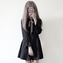 Dress Fall 2017 black Average size Short skirt singleton  Long sleeves Sweet Polo collar High waist Solid color Socket other Lotus leaf sleeve Others Under 17 Type A solar system