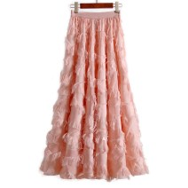 skirt Spring of 2019 S, M Pink, black Mid length dress Versatile High waist A-line skirt Solid color Type A 25-29 years old 91% (inclusive) - 95% (inclusive) brocade Willful Diao Hu nylon 161g / m ^ 2 (including) - 180g / m ^ 2 (including)
