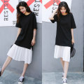 Dress Summer 2017 black M, L Mid length dress singleton  Short sleeve commute Crew neck Loose waist Solid color Socket other routine Others Type H Korean version fold 81% (inclusive) - 90% (inclusive) other cotton