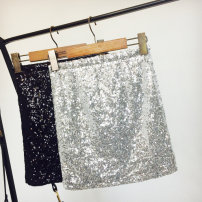 skirt Spring of 2019 Average size Black, pink gold, silver white Short skirt commute High waist skirt Solid color Type H 25-29 years old 30% and below other Candy polyester fiber Embroidery, Sequin, stitching, 3D Korean version