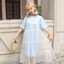 Dress Summer 2017 Yellow, light blue Average size Mid length dress Two piece set Sleeveless commute V-neck Loose waist stripe Socket camisole 18-24 years old Korean version Gauze 30% and below other