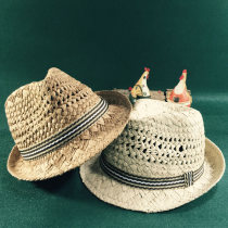 Hat Mixed weaving of cloth and grass Grass Beige S (52-53cm) 4-7 years old L (56-59cm) Adult formal hat Spring and summer male leisure time children no