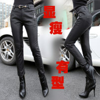 Casual pants 1306 × black middle waist, 1309 × black middle waist S. M, l, XL, 2XL, 3XL, 4XL, 5XL, 6xl, no stretch, it's recommended to take a bigger size Spring 2021 trousers Pencil pants Natural waist commute routine 25-29 years old Cafrandi Sheepskin Korean version zipper Sheepskin
