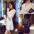 Dress Autumn 2015 S,M,L,XL Short skirt singleton  Long sleeves commute V-neck middle-waisted Solid color Socket Big swing other Others Type A 51% (inclusive) - 70% (inclusive) Lace