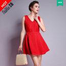 Dress Лето 2015 фотографии цвет больше цветов, пожалуйста, консультативного обслуживания клиентов Короткая юбка Пригородные Отдельная деталь V воротник
