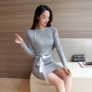 Dress Winter 2016 Gray, black Average size Mid length dress singleton  Long sleeves commute One word collar middle-waisted Solid color Socket other Bat sleeve Others 18-24 years old Type X Lai changmeizi Simplicity B42 81% (inclusive) - 90% (inclusive) knitting cotton
