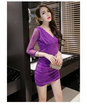 Dress Spring 2021 5561 black, 5561 red, 5561 purple, 201 Dress Black S. M, l, XL, 2XL, one size fits all Short skirt singleton  Long sleeves commute V-neck Socket 18-24 years old Simplicity Hand abrasion 71% (inclusive) - 80% (inclusive) brocade
