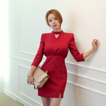 Dress Spring 2017 White, red, black, sapphire L,XL,2XL,3XL,4XL,5XL,6XL Short skirt singleton  Nine point sleeve commute stand collar High waist Solid color Socket Others Korean version 71% (inclusive) - 80% (inclusive) cotton