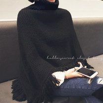 sweater Winter 2020 Average size black Sleeveless Socket singleton  Regular acrylic fibres 31% (inclusive) - 50% (inclusive) High collar thickening commute Bat sleeve Solid color Shawl type Regular wool Keep warm and warm 25-29 years old A8308 tassels acrylic fibres