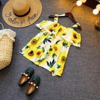 Dress Sunflower~ Other / other female 90cm / tag 3 100cm / tag 4 110cm / tag 5 120cm / tag 6 130cm / tag 7 135cm / tag 8 Other 100% summer Korean version Skirt / vest Broken flowers cotton Lotus leaf edge other