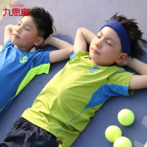 suit Jiusitong Navy light green royal blue fluorescent yellow orange 120cm 130cm 140cm 150cm 160cm 170cm male summer motion Short sleeve + pants 2 pieces Thin money There are models in the real shooting Socket nothing Solid color chemical fiber children Learning reward TS003 Class B
