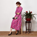 Dress Spring of 2019 rose red S,M,L,XL,3XL,XXL longuette singleton  Long sleeves commute stand collar middle-waisted Decor Single breasted Big swing routine Skirt dancing Retro Fold, button, zipper 71% (inclusive) - 80% (inclusive) other cotton