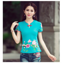 T-shirt M,L,XL,2XL,3XL,4XL,5XL Summer of 2019 Short sleeve V-neck Self cultivation Regular routine commute cotton 96% and above 30-34 years old ethnic style literature Solid color Embroidery