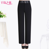 Middle aged and old women's wear Summer 2021 Intellectuality trousers easy singleton  Solid color 50-59 years old moderate Blue of Thousand Islands Embroidery polyester fiber 91% (inclusive) - 95% (inclusive) zipper trousers