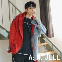 Jacket Other / other Youth fashion Red, blue M,L,XL,2XL routine easy Other leisure spring Cotton 80% polyurethane elastic fiber (spandex) 20% Long sleeves Wear out Hood Exquisite Korean style youth routine Zipper placket 2018 Cloth hem No iron treatment Closing sleeve Solid color Denim Assembly