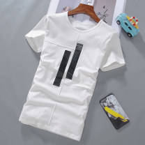 T-shirt Youth fashion routine 165/M 170/L 175/XL 180/XXL 185/XXXL Short sleeve Crew neck Self cultivation daily summer Cotton 95% polyurethane elastic fiber (spandex) 5% teenagers routine like a breath of fresh air Spring 2017 Geometric pattern Embroidered logo cotton Chinese culture Fashion brand