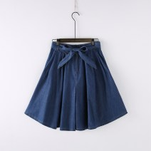 skirt Summer 2016 Average size Light blue, dark blue Middle-skirt commute Natural waist Denim skirt Solid color Type A More than 95% Denim cotton Button Korean version