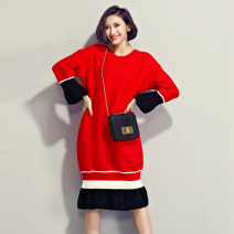 sweater Fall 2017 Average size Red, black Long sleeves Socket singleton  Medium length polyester fiber 81% (inclusive) - 90% (inclusive) Crew neck thickening commute pagoda sleeve Straight cylinder Coarse wool Keep warm and warm Other / other