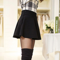 skirt Spring 2016 Short skirt Fluffy skirt commute Solid color 71% (inclusive) - 80% (inclusive) cotton 25-29 years old other zipper Korean version Black, wine red