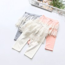 trousers Other / other female 100cm,110cm,120cm,130cm,140cm White, gray, pink, purple summer Cropped Trousers lady No model Leggings Leather belt middle-waisted Pure cotton (100% content) Don't open the crotch Cotton 100% Class A CML 4 years old